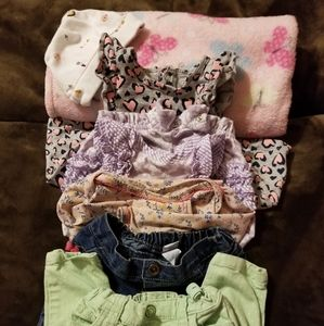 Baby Girls Lot 7 Pc Gently Worn Clothing